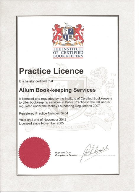 Allum Bookkeeping Services Practising Certificate - Weymouth, Dorset
